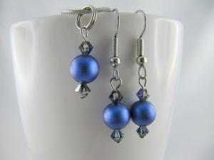 Set Anhänger und Ohrringe Perlen Dunkelblau (416) - Handarbeit kaufen