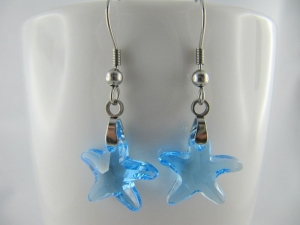 Ohrringe Starfish Aquamarine Hellblau (644) - Handarbeit kaufen