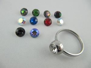 Ring Wechselring Edelstahl Kristalle Gr. 17,5 - Handarbeit kaufen