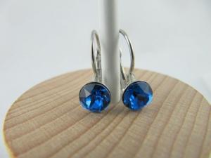 Ohrringe Brisur Kristalle Blau Capri Blue - Handarbeit kaufen