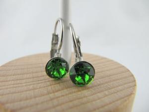 Ohrringe Brisur Kristalle Grün Fern Green - Handarbeit kaufen