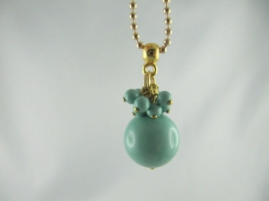 Lange Kette Perlen Gold Jade (237)   - Handarbeit kaufen