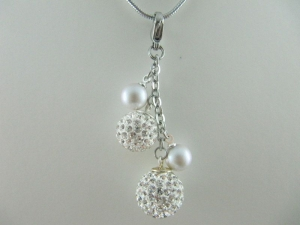 Anhänger Perlen Weiß / Grau (507) - Handarbeit kaufen