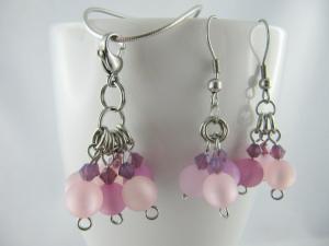 Set Anhänger und Ohrringe Perlen Lila Polarisperlen (479) - Handarbeit kaufen