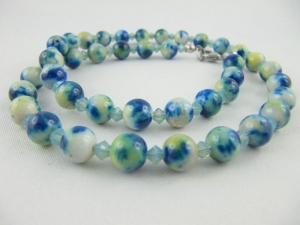 Kette Perlen Türkis / Blau (588) - Handarbeit kaufen