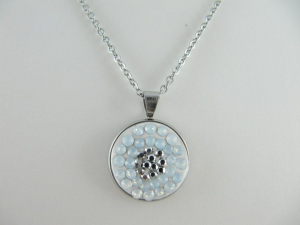 Kette mit Anhänger Weiß Glitzer White Opal Silber - Handarbeit kaufen