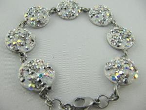 Armband Weiß glitzer Crystal AB Silber - Handarbeit kaufen