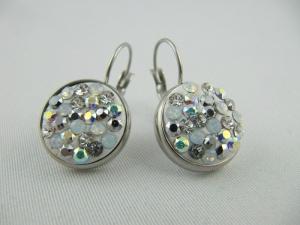 Ohrringe Ohrhänger weiß glitzer kristall Edelstahl (SCO26) - Handarbeit kaufen