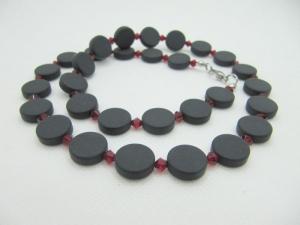 Kette Schwarz Rot Polaris Coins (660) - Handarbeit kaufen