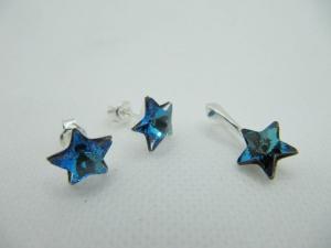 Set Ohrstecker und Anhänger Sterne Crystal Bermuda Blue (652)  - Handarbeit kaufen