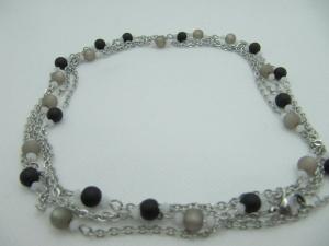 Lange Gliederkette Perlen Polaris Schwarz Grau  (658)  - Handarbeit kaufen