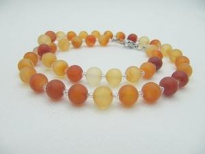 Set Kette Armband Ohrringe Perlen Karneol (662) - Handarbeit kaufen
