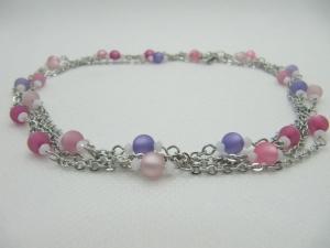 Lange Gliederkette Perlen Polaris Rosa (658)