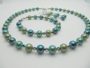 Schmuckset Perlen Kette Armband Ohrringe Grün (665)