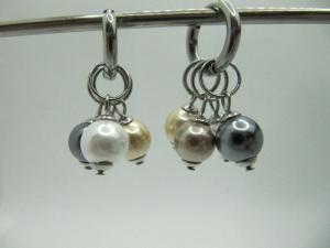Ohrringe Creolen Muschelkernperlen austauschbar Gold Grau (668) - Handarbeit kaufen