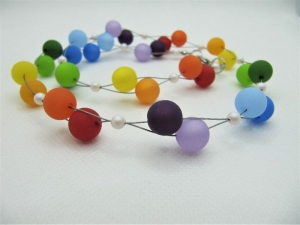 Kette Collier Polariskette Regenbogen Polaris Perlen (672)  - Handarbeit kaufen