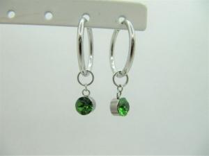 Creolen mit Wechselanhänger Kristalle Grün Fern Green