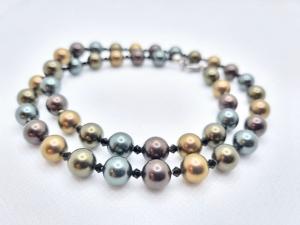 Elegante Kette Muschelkernperlen Braun Oliv Kristalle (678) - Handarbeit kaufen
