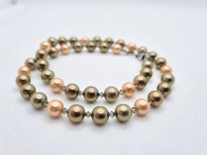 Elegante Kette Muschelkernperlen Bronze Oliv Orange Kristalle (678) - Handarbeit kaufen