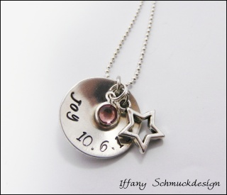 Namenskette ~Sternenstaub~ mit Geburtsstein, Wunschnamen und Wunschdatum