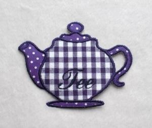 Teekanne, lila, Stickapplikation - Handarbeit kaufen