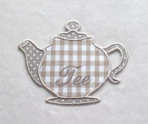 Teekanne, beige, Stickapplikation  - Handarbeit kaufen