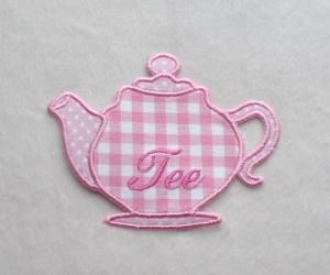 Teekanne, rosa, Stickapplikation  - Handarbeit kaufen