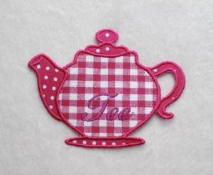 Teekanne, pink, Stickapplikation   - Handarbeit kaufen
