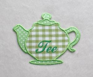 Teekanne, hellgrün, Stickapplikation    - Handarbeit kaufen