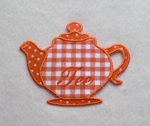 Teekanne, orange, Stickapplikation     - Handarbeit kaufen