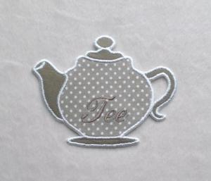 Teekanne, beige, Pünktchen, Stickapplikation      - Handarbeit kaufen