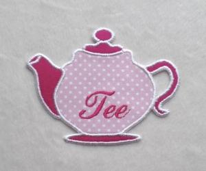 Teekanne, rosa-pink, Pünktchen, Stickapplikation         - Handarbeit kaufen