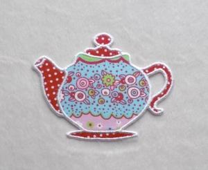 Teekanne, Blumen bunt, Pünktchen, Stickapplikation            - Handarbeit kaufen
