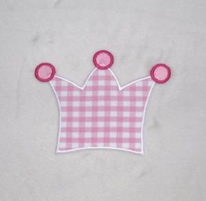 Krone, rosa kariert, Stickapplikation zum Aufbügeln  - Handarbeit kaufen