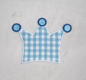 Krone, hellblau kariert, Stickapplikation zum Aufbügeln   - Handarbeit kaufen