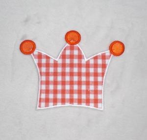 Krone, orange kariert, Stickapplikation zum Aufbügeln     - Handarbeit kaufen