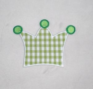 Krone, hellgrün kariert, Stickapplikation zum Aufbügeln    - Handarbeit kaufen