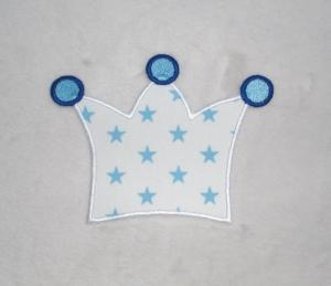 Krone, weiß-hellblaue Sterne, Stickapplikation zum Aufbügeln     - Handarbeit kaufen