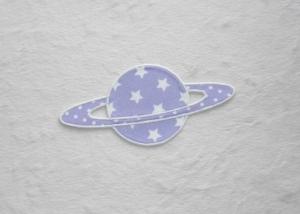 Planet, Sterne, flieder, leuchtet im Dunkeln, Stickapplikation zum Aufbügeln        - Handarbeit kaufen