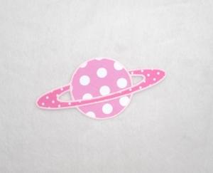 Planet, Punkte, rosa, leuchtet im Dunkeln, Stickapplikation zum Aufbügeln          - Handarbeit kaufen