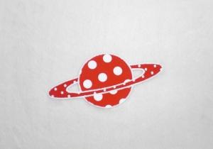 Planet, Punkte, rot, leuchtet im Dunkeln, Stickapplikation zum Aufbügeln             - Handarbeit kaufen