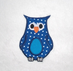 Eule, blau, Pünktchen mit türkisblauem Bauch, Stickapplikation zum Aufbügeln                 - Handarbeit kaufen