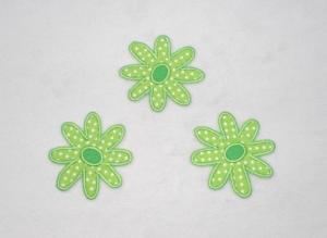 Blumen, 3er Set, hellgrün, Pünktchen, Stickapplikation zum Aufbügeln - Handarbeit kaufen