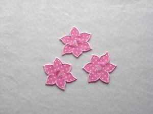 Blumen Nr.4, 3er Set, rosa, Pünktchen, Stickapplikation zum Aufbügeln   - Handarbeit kaufen