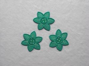 Blumen Nr.2, 3er Set, petrol, Stickapplikation zum Aufbügeln      - Handarbeit kaufen