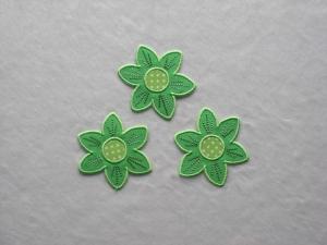 Blumen Nr.2, 3er Set, leuchtendgrün, Stickapplikation zum Aufbügeln       - Handarbeit kaufen