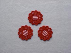 Blumen Nr.5, 3er Set, rot, Stickapplikation zum Aufbügeln          - Handarbeit kaufen