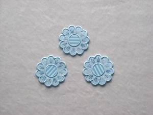 Blumen Nr.5, 3er Set, hellblau, Stickapplikation zum Aufbügeln            - Handarbeit kaufen