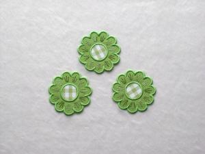 Blumen Nr.5, 3er Set, grasgrün, Stickapplikation zum Aufbügeln             - Handarbeit kaufen