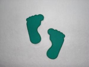 2 große Füße in petrol, Stickapplikation zum Aufbügeln                           - Handarbeit kaufen
